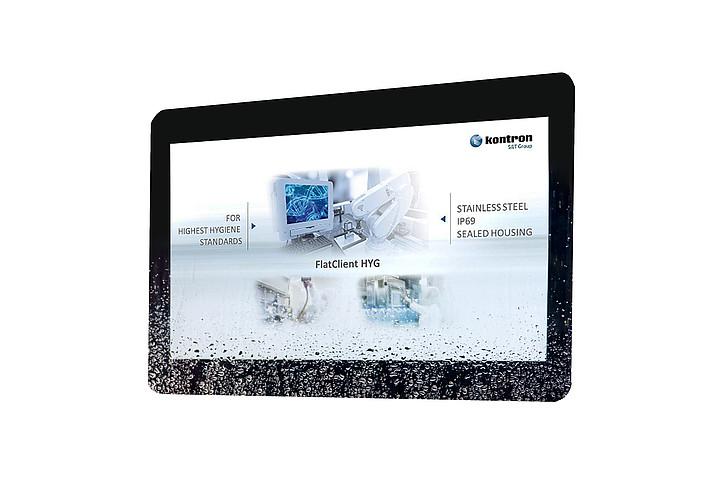 New Kontron Panel-PC with IP69K - FlatClient HYG in stainless steel housing for hygienically sensitive applications